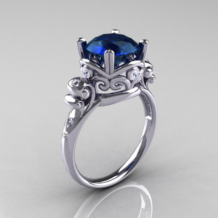 Modern Vintage 18K White Gold 2.5 Carat London Blue Sapphire Diamond Wedding Engagement Ring R167-18KWGDLBS-1