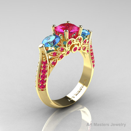 Classic 14K Yellow Gold Three Stone Blue Topaz Pink Sapphire Solitaire Ring R200-14KYGBTPS-1