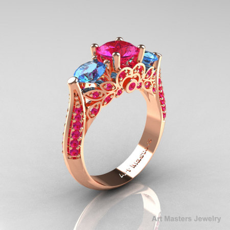 Classic 14K Rose Gold Three Stone Blue Topaz Pink Sapphire Solitaire Ring R200-14KRGBTPS-1