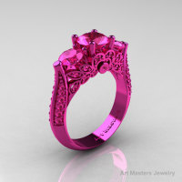 Classic 14K Pink Gold Three Stone Pink Sapphire Solitaire Engagement Ring Wedding Ring R200-14KPGPS-1