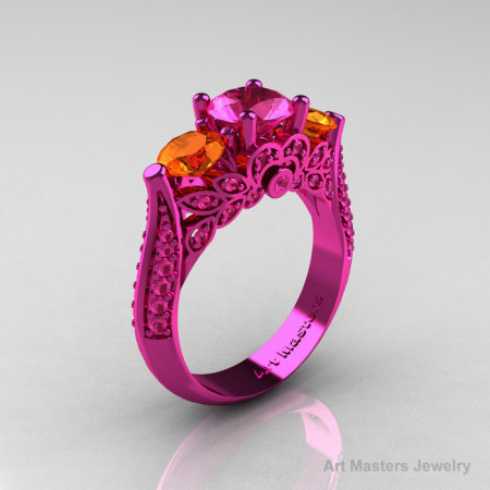 Classic 14K Pink Gold Three Stone Pink Orange Sapphire Solitaire Engagement Ring Wedding Ring R200-14KPGOPS-1