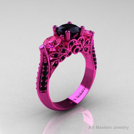 Classic 14K Pink Gold Three Stone Black Diamond Pink Sapphire Solitaire Engagement Ring Wedding Ring R200-14KPGPSBD-1