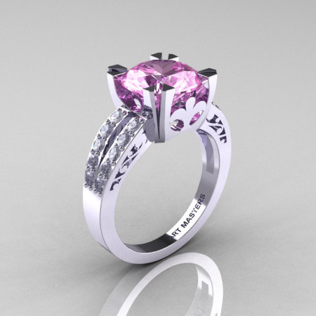 Modern Vintage 14K White Gold 3.0 Carat Light Pink Sapphire Diamond Solitaire Ring R102-14KWGDLPS-1