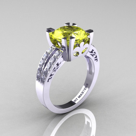 Modern Vintage 14K White Gold 3.0 Carat Yellow Topaz Diamond Solitaire Ring R102-14KWGDYT-1
