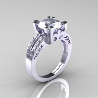 Modern Vintage 14K White Gold 3.0 Carat Russian Cubic Zirconia Diamond Solitaire Ring R102-14KWGDRCZ-1