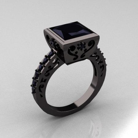 Classic Bridal 14K Black Gold 2.5 Carat Princess Black Diamond Ring R309-14BGBG-1
