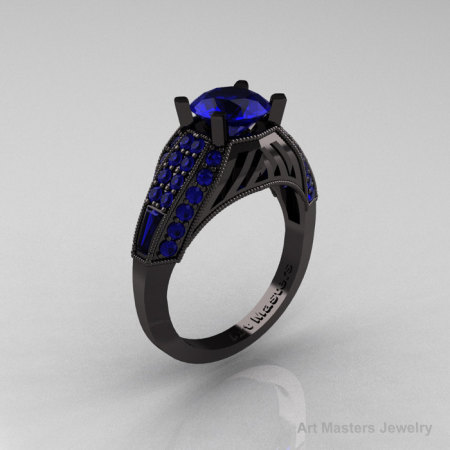 Aztec Edwardian 14K Black Gold 1.0 CT Blue Sapphire Engagement Ring R001-14KBGBS-1
