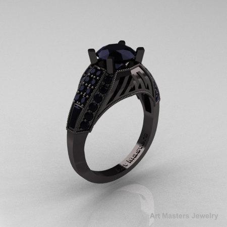 Aztec Edwardian 14K Black Gold 1.0 CT Black Diamond Engagement Ring R001-14KBGBD-1