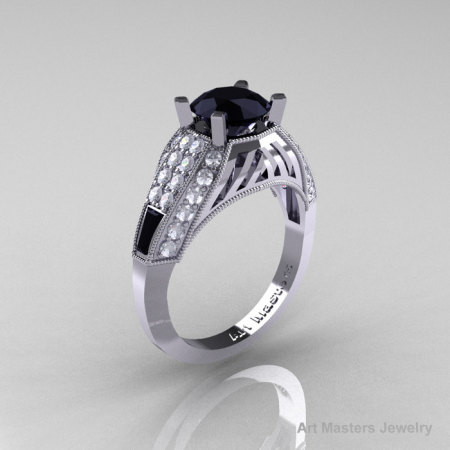Aztec Edwardian 14K White Gold 1.0 CT Black and White Diamond Engagement Ring R001-14KWGDBD-1