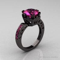 Modern Renaissance 14K Black Gold 3.0 Carat Pink Sapphire Solitaire Ring R402-14KBGPS-1