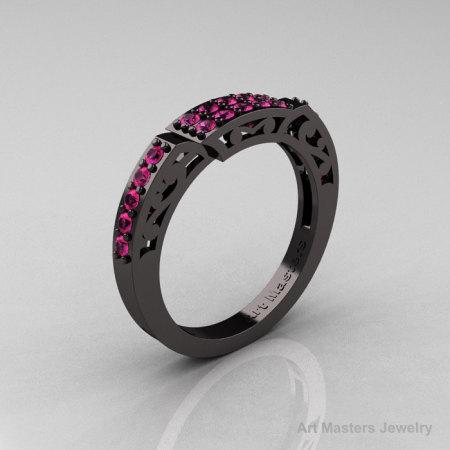 Modern Renaissance 14K Black Gold Pink Sapphire Matching Wedding Band R402B-14KBGPS-1