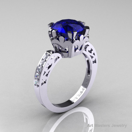Modern Renaissance 14K White Gold 3.0 Carat Blue Sapphire Diamond Solitaire Ring R402-14KWGDBS-1