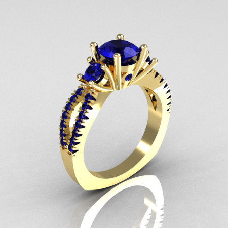Modern French Bridal 10K Yellow Gold Three Stone 1.0 Carat Blue Sapphire Engagement Ring R140-10YGBS-1