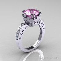 Modern Renaissance 14K White Gold 3.0 Carat Light Pink Sapphire Diamond Solitaire Ring R402-14KWGDLPS-1
