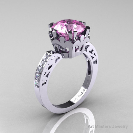 Modern Renaissance 14K White Gold 3.0 Carat Light Pink Sapphire Diamond Solitaire Ring R402-14KWGDLPS-1