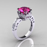 Modern Renaissance 14K White Gold 3.0 Carat Pink Sapphire Diamond Solitaire Ring R402-14KWGDPS-1