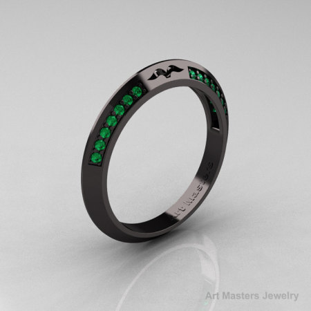 Modern French 14K Black Gold Emerald Matching Wedding Band R176B-14KBGEM-1