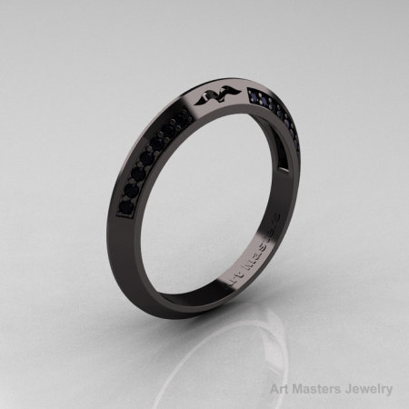 Modern French 14K Black Gold Black Diamond Matching Wedding Band R176B-14KBGBD-1