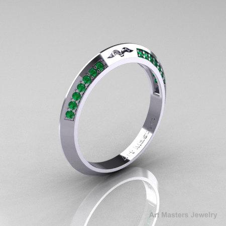 Modern French 14K White Gold Emerald Matching Wedding Band R176B-14KWGEM-1