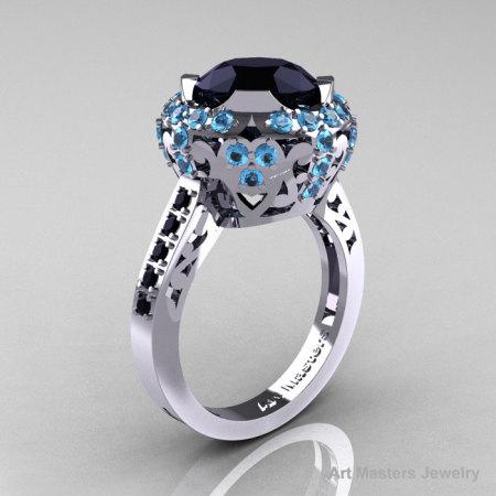 Modern Edwardian 14K White Gold Black Diamond Blue Topaz Engagement Ring Wedding Ring Y404-14KWGBTBD-1