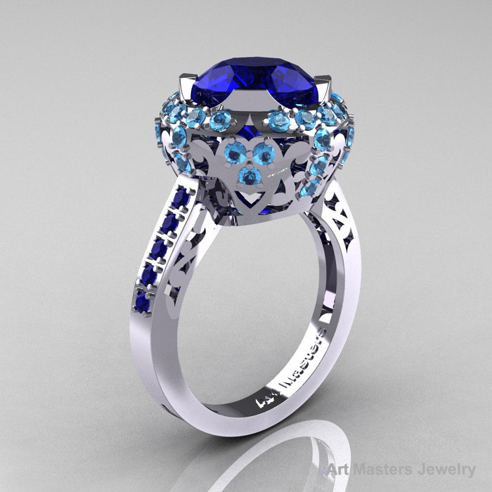 Modern Edwardian 10K White Gold Blue Sapphire Blue Topaz Engagement Ring Wedding Ring Y404