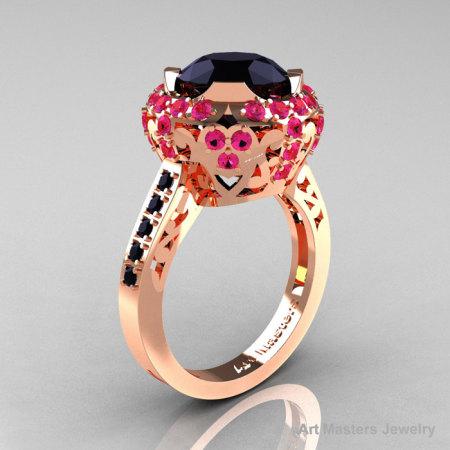 Modern Edwardian 14K Rose Gold Black Diamond Pink Sapphire Engagement Ring Wedding Ring Y404-14KRGPSBD-1
