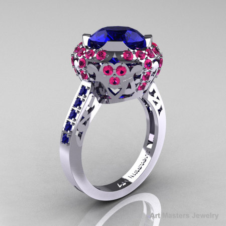 Modern Edwardian 10K White Gold Blue and Pink Sapphire Engagement Ring Wedding Ring Y404-10KWGPSBS-1