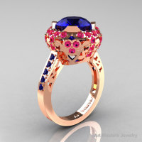Modern Edwardian 14K Rose Gold Blue and Pink Sapphire Engagement Ring Wedding Ring Y404-14KRGPSBS-1