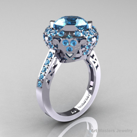 Modern Edwardian 10K White Gold Blue Topaz Engagement Ring Wedding Ring Y404-10KWGBT-1