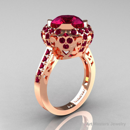 Modern Edwardian 14K Rose Gold Raspberry Red Garnet Engagement Ring Wedding Ring Y404-14KRGRRG-1