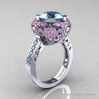 Modern Edwardian 10K White Gold Aquamarine Light Pink Sapphire Engagement Ring Wedding Ring Y404-10KWGLPSAQ-1
