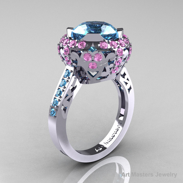 Modern Edwardian 10K White Gold Aquamarine Light Pink Sapphire Engagement Rin