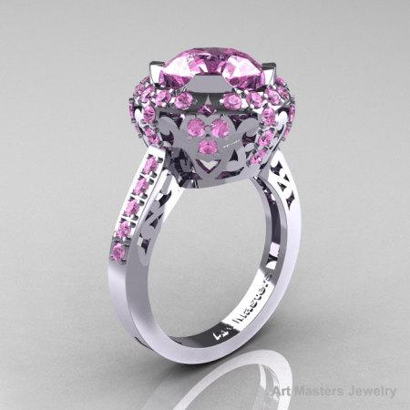 Modern Edwardian 14K White Gold 3.0 Carat Light Pink Sapphire Engagement Ring Wedding Ring Y404-14KWGLPS-1