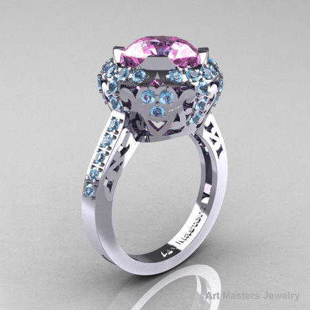 Modern Edwardian 14K White Gold 3.0 Carat Light Pink Sapphire Aquamarine Engagement Ring Wedding Ring Y404-14KWGAQLPS-1