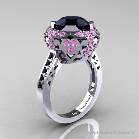 Modern Edwardian 14K White Gold Black Diamond Light Pink Sapphire Engagement Ring Wedding Ring Y404-14KWGLPSBD-1