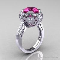 Modern Edwardian 14K White Gold 3.0 Carat Pink Sapphire Diamond Engagement Ring Wedding Ring Y404-14KWGDPS-1