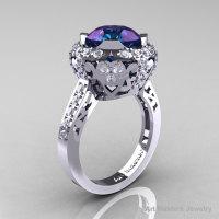 Modern Edwardian 14K White Gold 3.0 Carat Alexandrite Diamond Engagement Ring Wedding Ring Y404-14KWGDAL-1