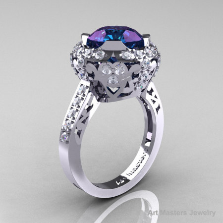 Modern Edwardian 14K White Gold 3.0 Carat Alexandrite Diamond Engagement Ring Wedding Ring Y404-14KWGDAL-1