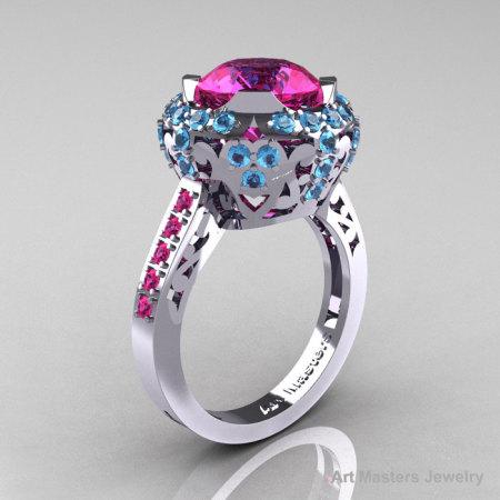 Modern Edwardian 14K White Gold 3.0 Carat Pink Sapphire Blue Topaz Engagement Ring Wedding Ring Y404-14KWGBTPS-1