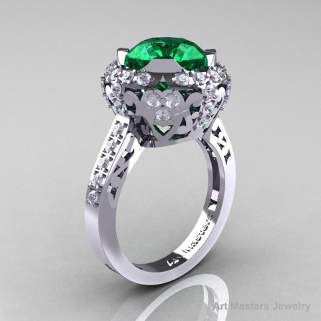 Edwardian 14K White Gold 3.0 Carat Emerald Diamond Engagement Ring Wedding Ring Y404-14KWGDEM-1