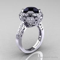 Edwardian 14K White Gold 3.0 Carat Black and White Diamond Engagement Ring Wedding Ring Y404-14KWGDBD-1