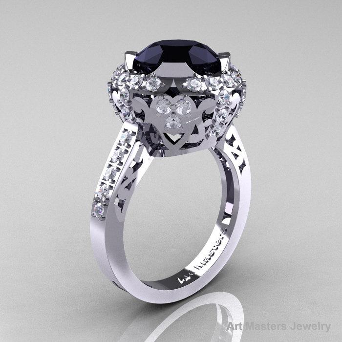 White Gold 3 0 Carat Black And White Diamond Engagement Ring Wedding