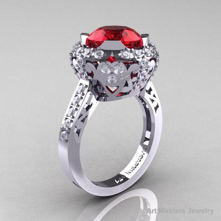 Edwardian 14K White Gold 3.0 Carat Rubies Diamond Engagement Ring Wedding Ring Y404-14KWGDR-1