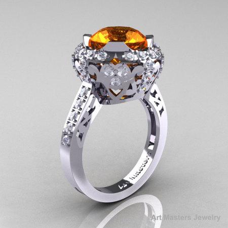 Edwardian 14K White Gold 3.0 Carat Orange Sapphire Diamond Engagement Ring Wedding Ring Y404-14KWGDOS-1
