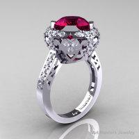 Edwardian 14K White Gold 3.0 Carat Garnet Diamond Engagement Ring Wedding Ring Y404-14KWGDG-1