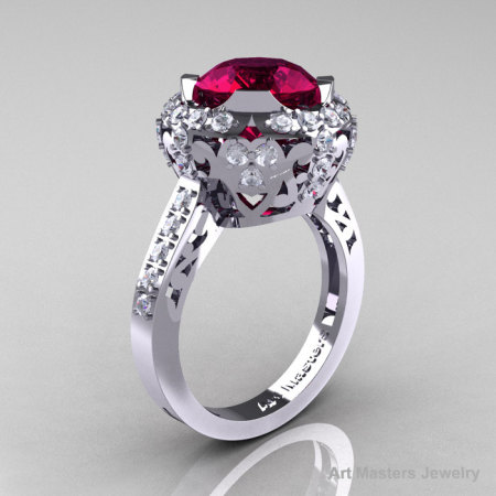 Edwardian 14K White Gold 3.0 Carat Garnet Diamond Engagement Ring Wedding Ring Y404-14KWGDG-1