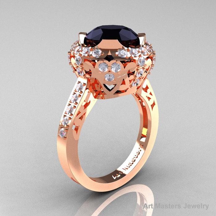 Modern Edwardian 14K Rose Gold 3 0 Carat Black and White Diamond Engagement R