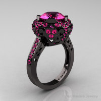 Exclusive Edwardian 14K Black Gold 3.0 Carat Pink Sapphire Engagement Ring Wedding Ring Y404-14KBGPS-1