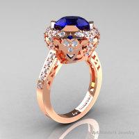 Modern Edwardian 14K Rose Gold 3.0 Carat Blue Sapphire Diamond Engagement Ring Wedding Ring Y404-14KRGDBS-1