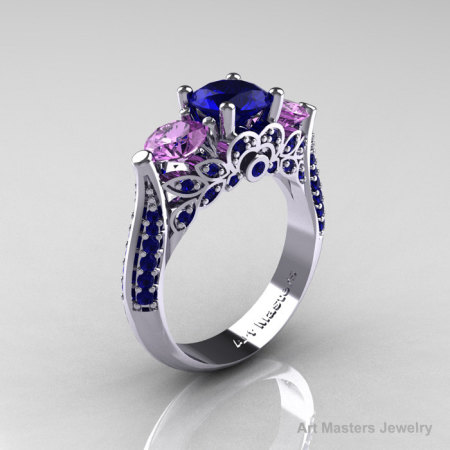 Classic 10K White Gold Three Stone Blue Sapphire Lilac Amethyst Solitaire Ring R200-10KWGLAMBS-1